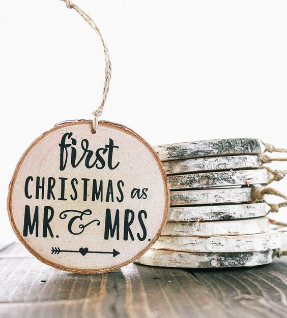 I love these homemade Mr. and Mrs wood slice ornaments! This is a great way to add a personal touch to your Christmas tree decor