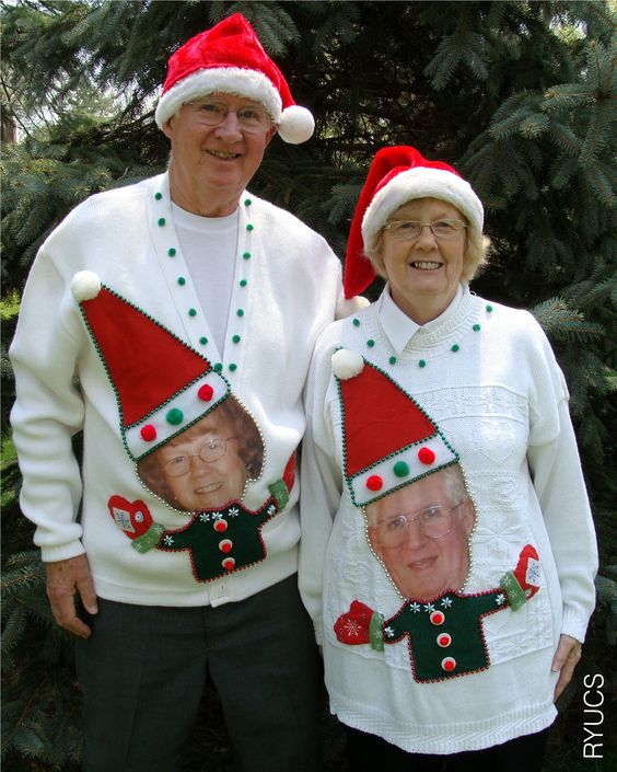 Turn yourself and your significant other into dancing elves with this creative and funny ugly Christmas sweater idea