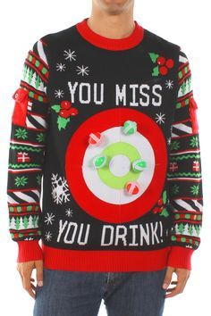 This ugly Christmas sweater is the perfect party game! Take aim, toss a ball, and if you miss the target, you drink!