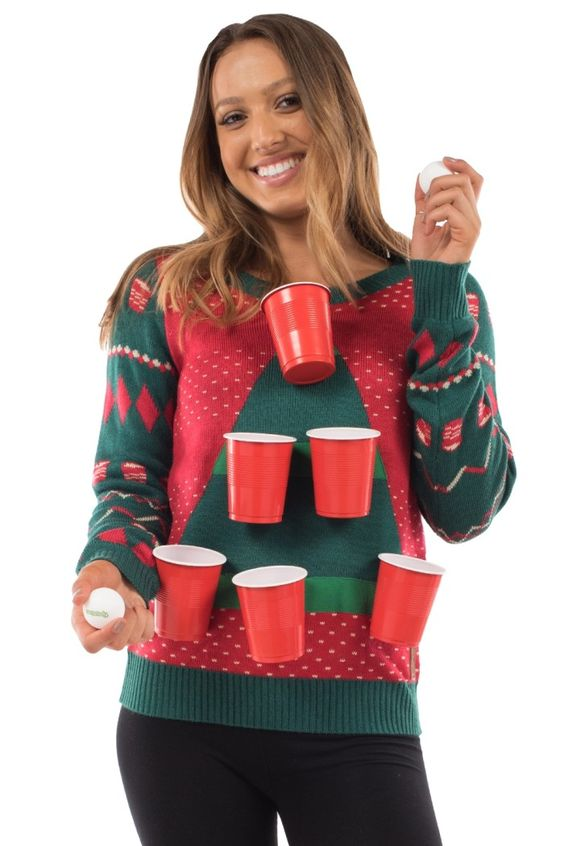 Glue some plastic cups to this ugly Christmas sweater and make a fun party game!