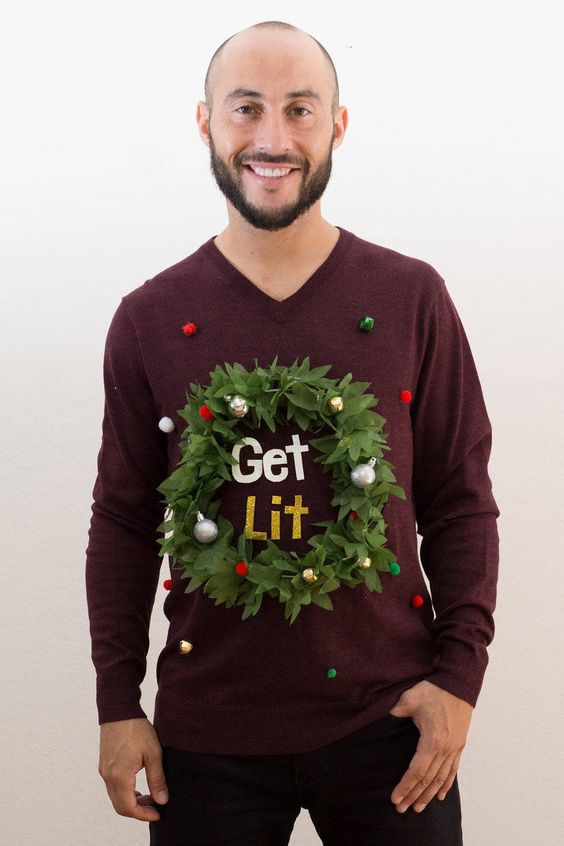 "You can DIY this ""Get Lit"" ugly Christmas sweater with just a few simple materials"