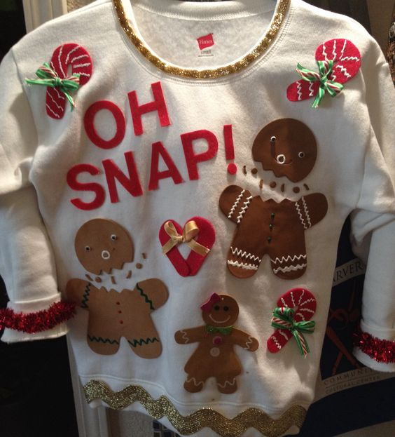 You can DIY this funny gingerbread man sweater and be the hit of the ugly sweater party