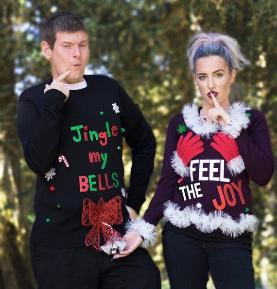 These slightly matching, slightly naughty Christmas sweaters are perfect for a couples Christmas party