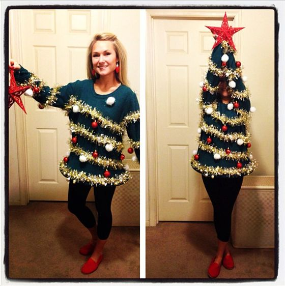 Turn yourself into a dazzling Christmas tree with this DIY ugly Christmas sweater