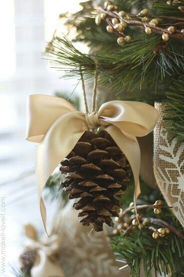 Pine cones are a simple, all-natural Christmas tree decor piece that adds so much style to your tree!