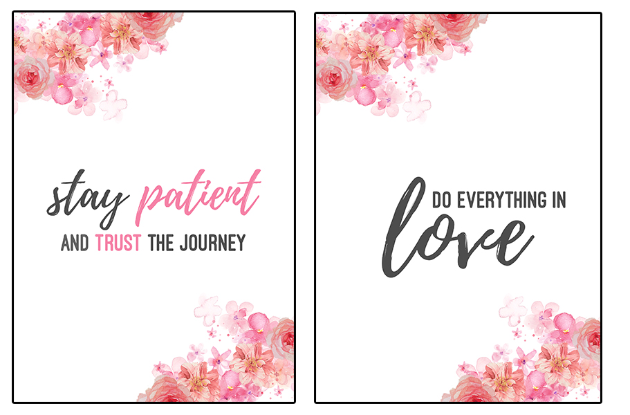 These floral wall art printables have soft pink flowers and strong motivational quotes that inspire
