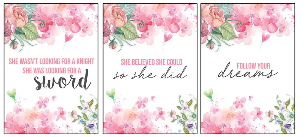 These floral wall art printables have  motivational quotes that are perfect for your home office