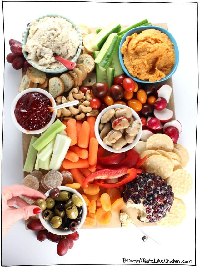 this vegan charcuterie board has the most popular vegan snacks like hummus and veggies
