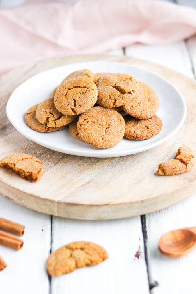 Soft and chewy, sweet vegan ginger molasses cookies are a healthy cookie that you can enjoy any time of year
