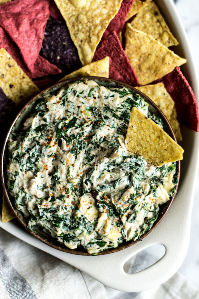 Healthy Super Bowl Appetizers (Vegan, Gluten Free, Sugar Free)    Spinach Artichoke Dip #superbowl #appetizers #healthy #vegan    Nikki's Plate