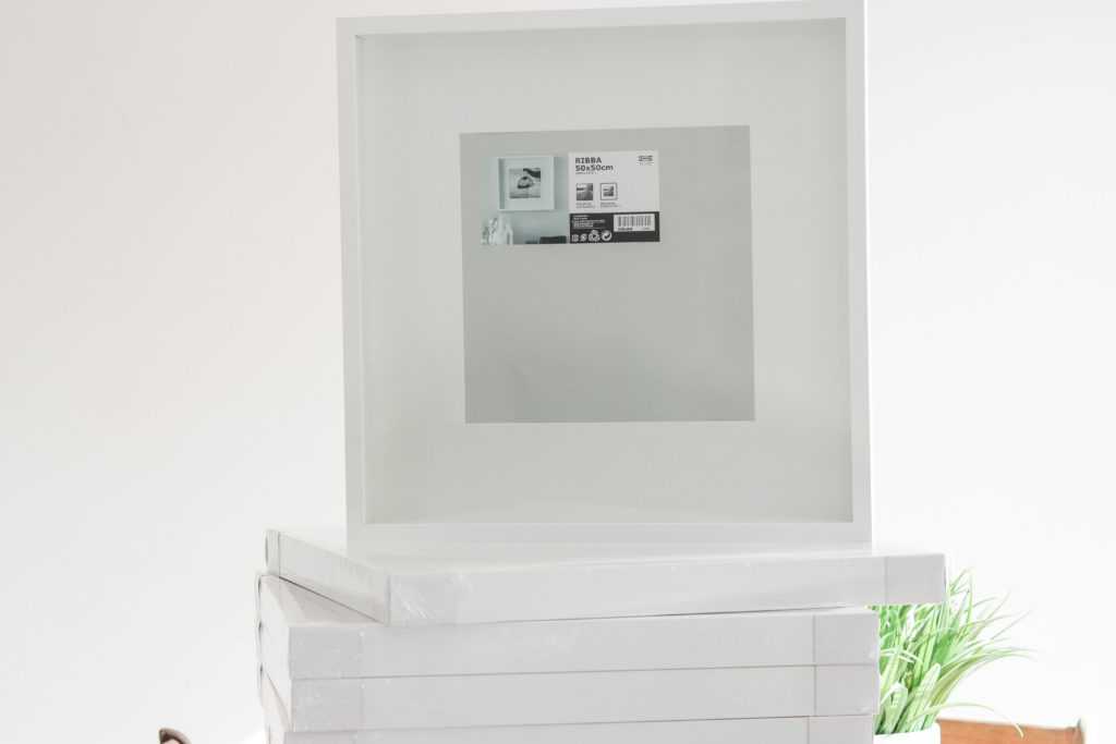 WE used 9 RIBBA picture frames total for our gallery wall, all the same size