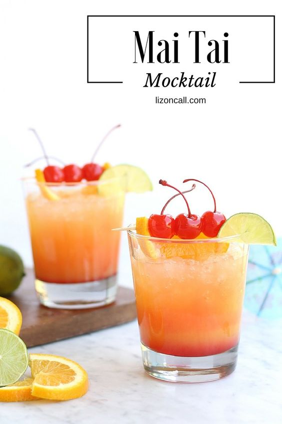 9 Fun Non-Alcoholic Mocktails - Mai Tais are a classic summer cocktail. This non-alcoholic version is sweet and refreshing!