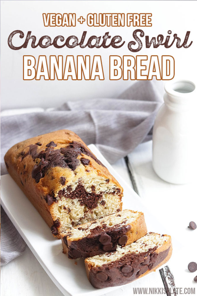 Quick and easy vegan chocolate swirl banana bread. Gluten free and dairy free. Health alternative to a sweet treat! Bake fresh or freeze dough for later use. Enjoy every moist soft chocolatey bite! #chocolatebananabread #vegan #glutenfree #bread - Nikki's Plate