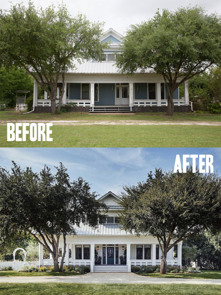 11 Best House Exterior Renovations By Joanna Gaines; Here are the best before and after reveals on the show Fixer Upper. House Front, Curb Appeal and Home Front. || Southern House, White and Blue, Front Porch