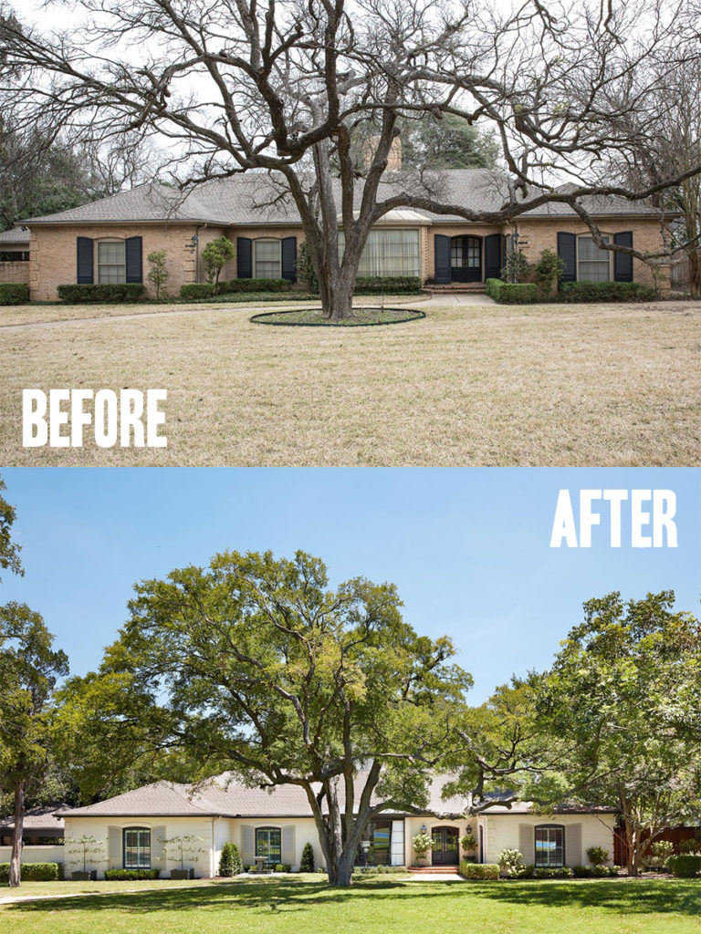 Best House Exterior Renovations By Joanna Gaines; Here are the best before and after reveals on the show Fixer Upper. House Front, Curb Appeal and Home Front. || Southern House,  Bungalow, White Brick