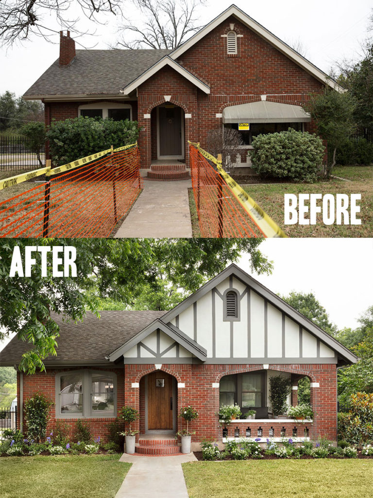 Best House Exterior Renovations By Joanna Gaines; Here are the best before and after reveals on the show Fixer Upper. House Front, Curb Appeal and Home Front. || Southern House, Bungalow, exterior paint, brick