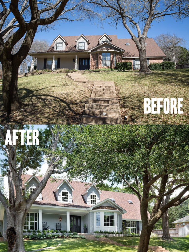 Best House Exterior Renovations By Joanna Gaines; Here are the best before and after reveals on the show Fixer Upper. House Front, Curb Appeal and Home Front. || Southern House, Bungalow, exterior paint, siding
