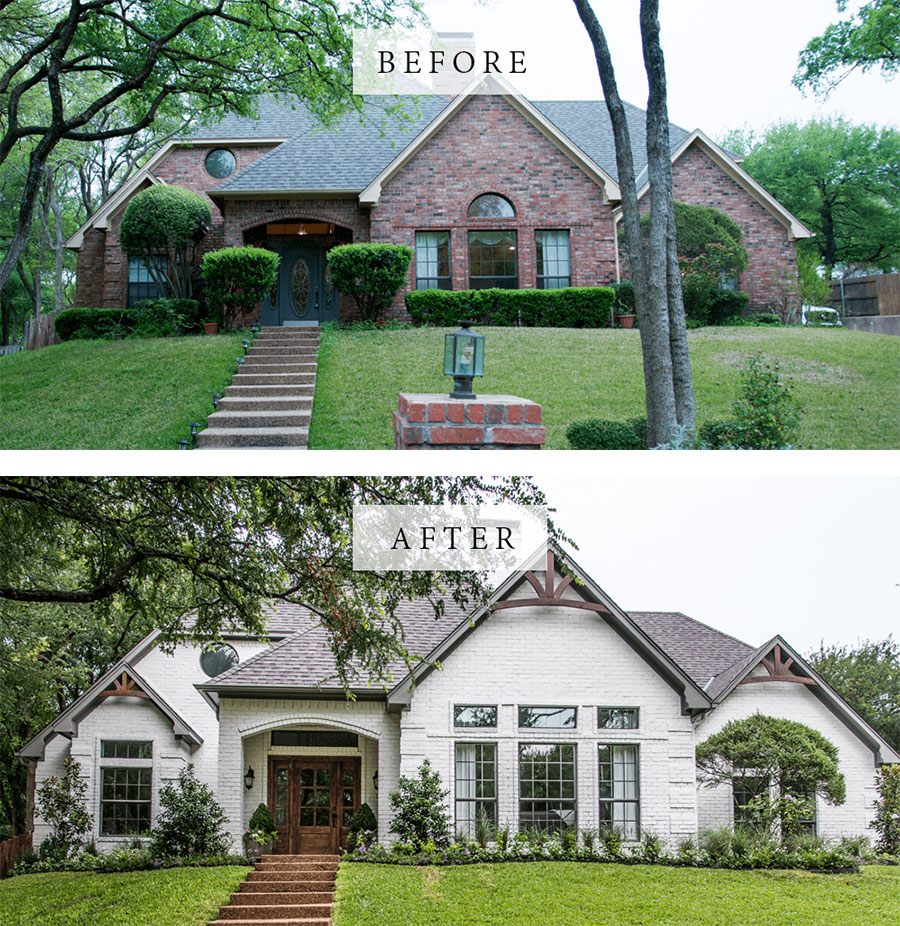 Best House Exterior Renovations By Joanna Gaines; Here are the best before and after reveals on the show Fixer Upper. House Front, Curb Appeal and Home Front. || Southern House, bungalow, brick painted