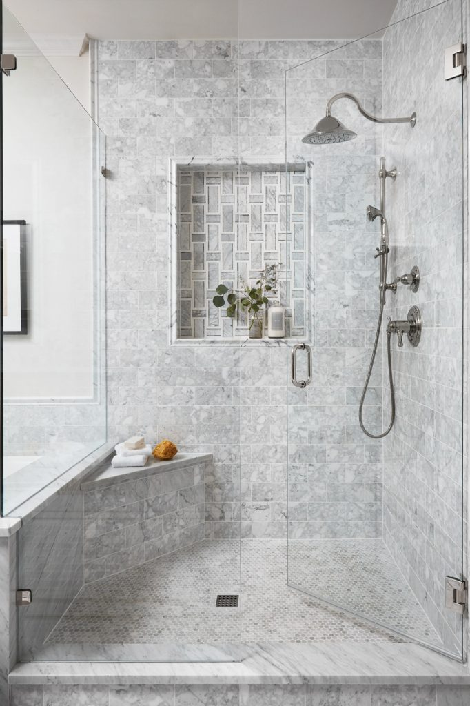 Best Bathrooms by Joanna Gaines; Fixer upper's top bathroom renovations by Joanna and chip Gaines! These rustic, country with hints of modern perfection bathrooms are everything #joannagaines #bathroom #bathrooms #renovations Grey Tile Shower - Nikki's Plate