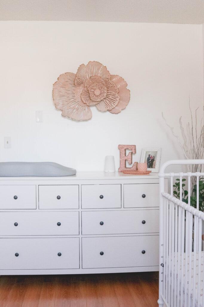 Baby Girl White and Pink Nursery Reveal; HEMNES Dresser in white, pink flower decor, hatch baby change pad.