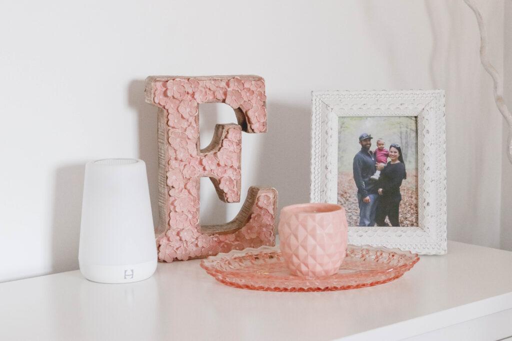 Baby Girl White and Pink Nursery Reveal; HEMNES Dresser in white, pink flower decor, hatch baby sound machine