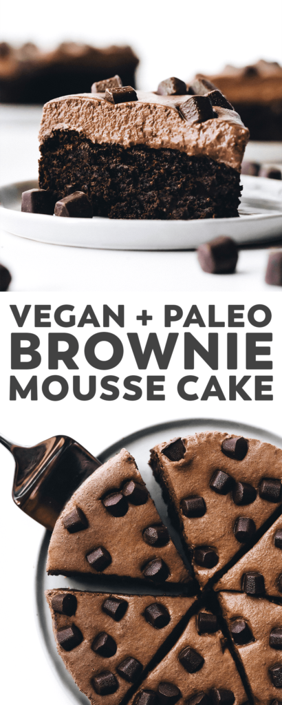 This chocolate brownie mousse cake is topped with a light and sweet chocolate mousse... it's hard to believe it's completely vegan!