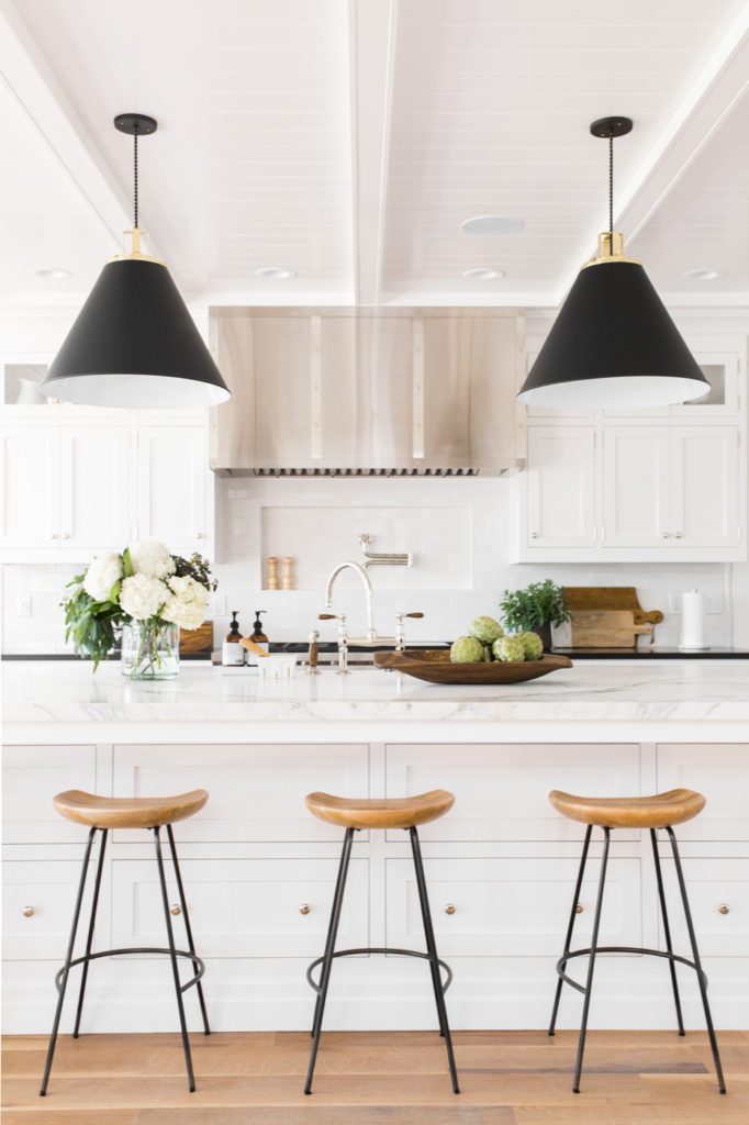 11 Best Kitchens by Studio McGee; The bold light fixtures over this breakfast bar are such lovely statement pieces!