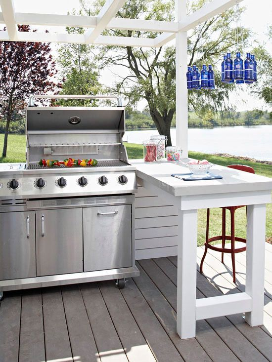 15 Deck Must Haves for Summer Entertaining; outdoor bbq station, white grilling area