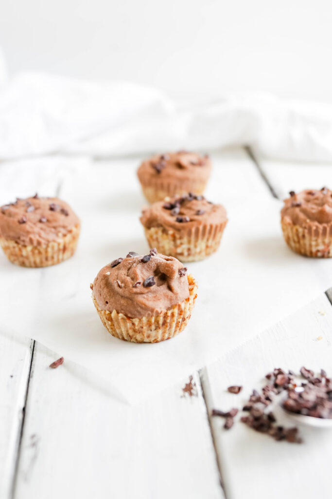 Chocolate Peanut Butter Ice Cream Cups; Vegan, dairy free and gluten free banana ice cream bites packed with cocoa and PB flavours.