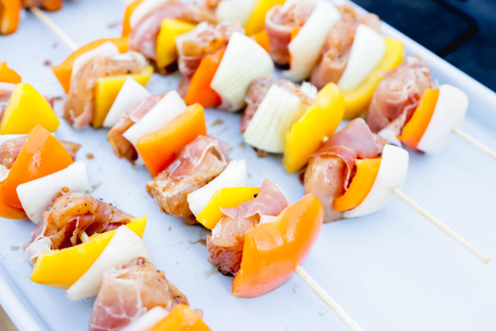 Raw Prosciutto Wrapped Chicken Skewers