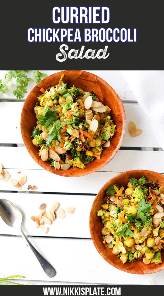 Curried Chickpea and Broccoli Salad; a healthy vegan salad that is bursting with curry spices and unique flavours. {Gluten Free & Vegan}