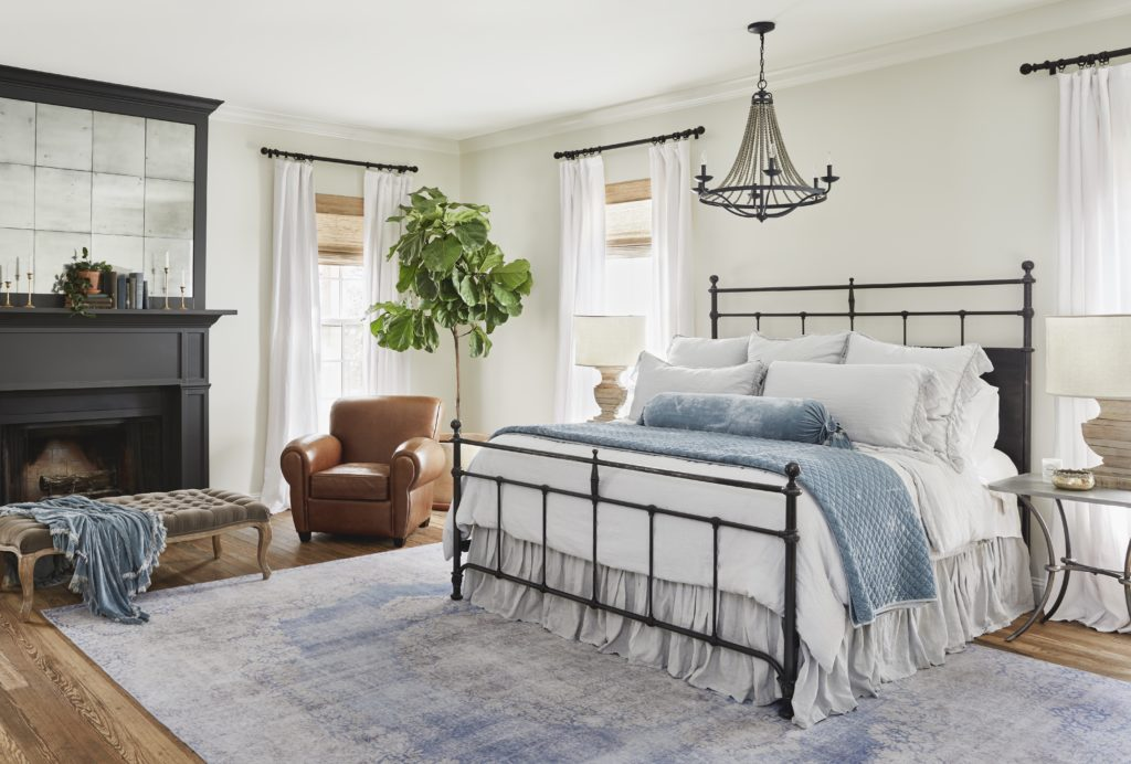 White farmhouse bedroom; Joanna Gaines Full Farmhouse Tour: Entire look inside Chip and Joanna Gaines's home