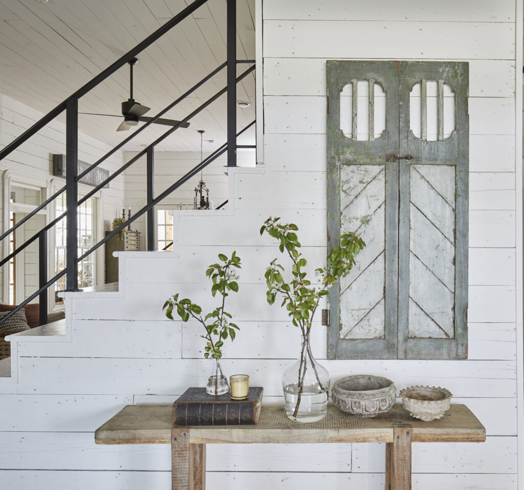 "White farmhouse entrance way with white shiplap and antique furniture"" Joanna Gaines Full Farmhouse Tour: Entire look inside Chip and Joanna Gaines's home"