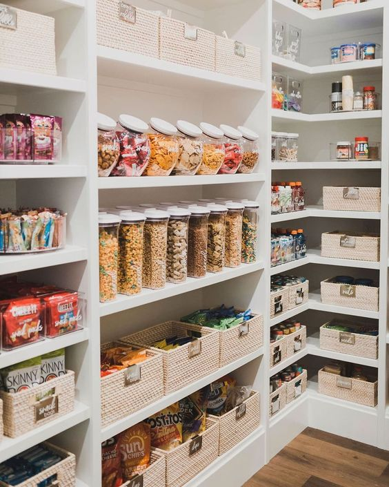 pantry, must haves to stock up on, white pantry, pantry organization