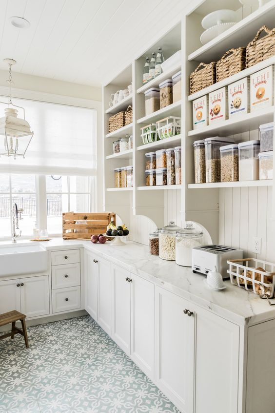 Pantry Must Haves to Stock Up On, white pantry, pantry organization, pantry with window, butlers pantry