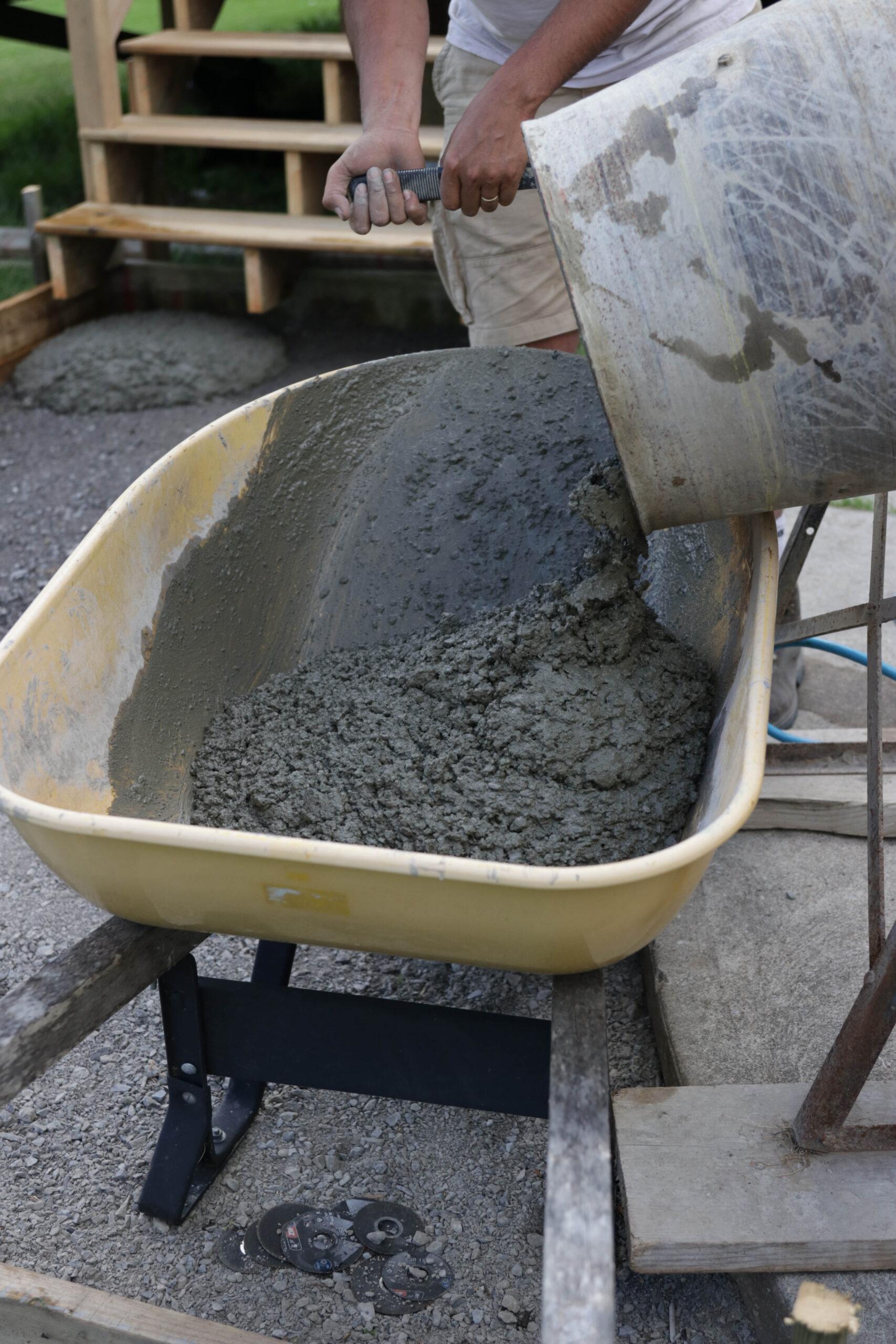 Pour concrete for concrete walkway
