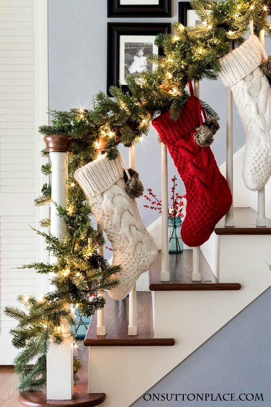 Where to Hang Stockings if You Don't Have a Fireplace; Christmas Decorations, stockings on stairs