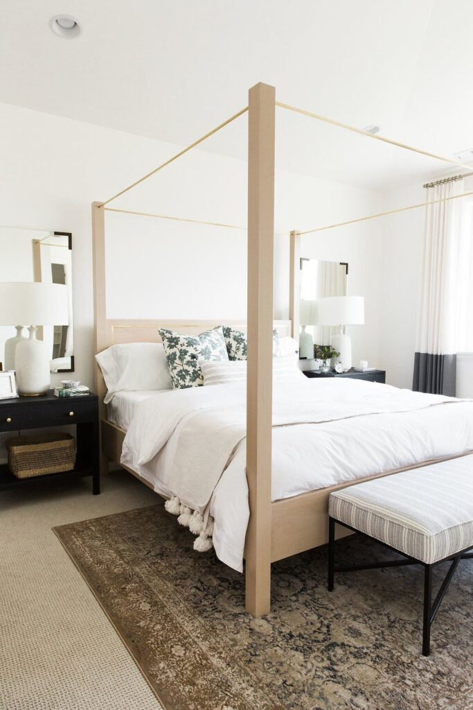 Studio McGee by Bedrooms: Vineyard Parade Home; four poster bed