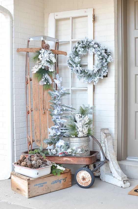 Simple Winter Front Porch Decor Ideas; ways to decorate your front door and home entrance this season!