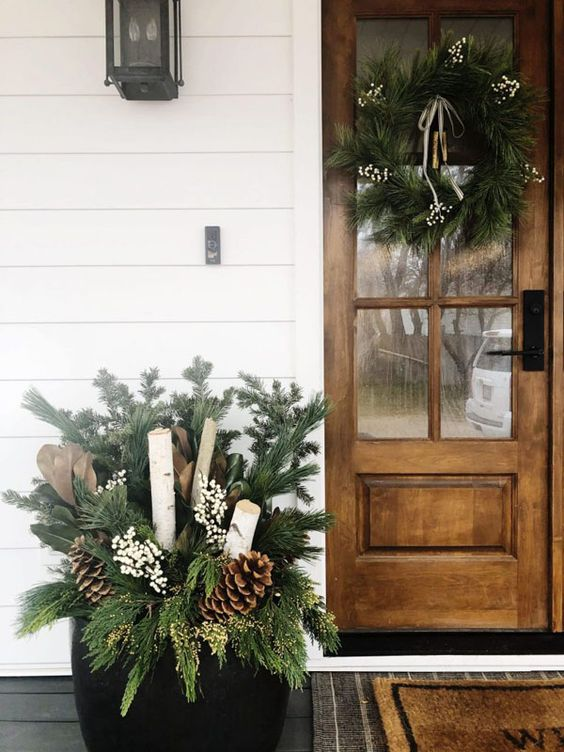 Simple Winter Front Porch Decor Ideas; ways to decorate your front door and home entrance this season! Wood Front Door