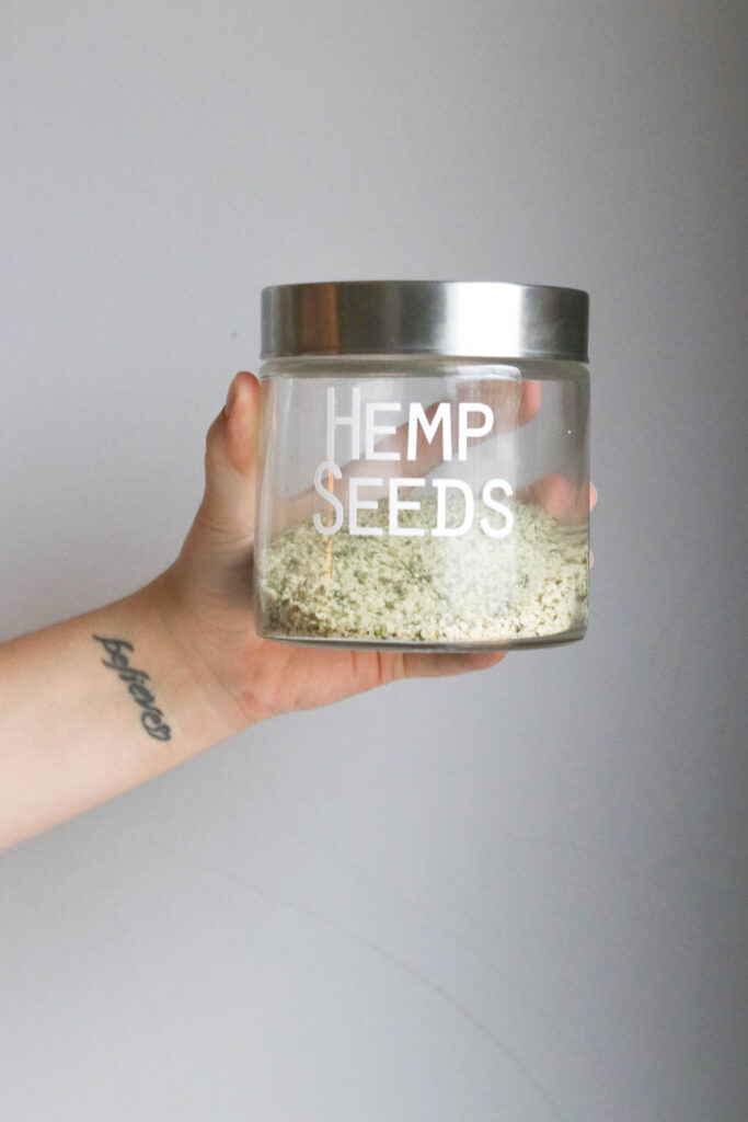 Pantry Organization with Large Labels;  Hemp Seeds, clear jar, small jar, silver lid