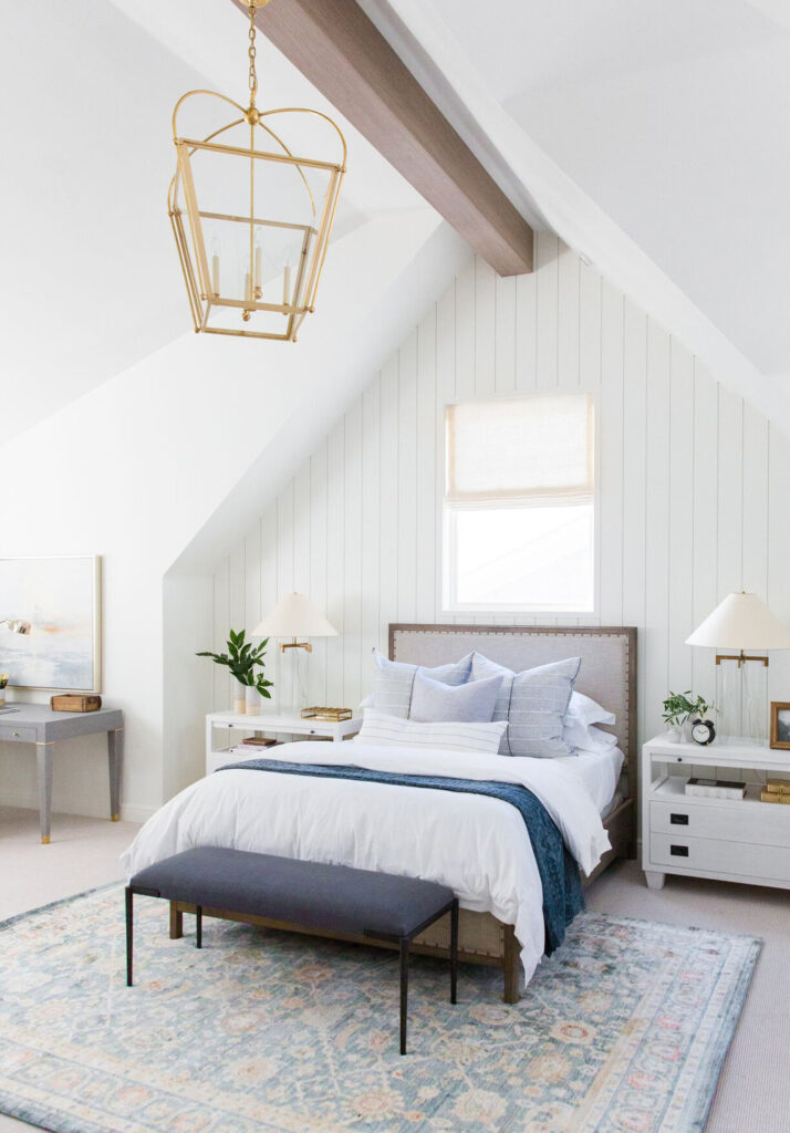 Studio McGee by Bedrooms: vaulted ceiling, window above bed
