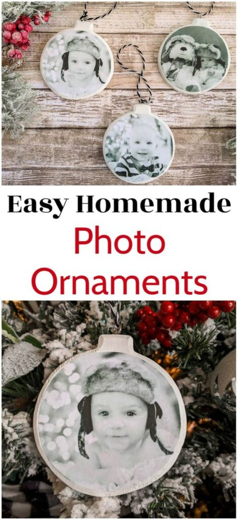 Easy Homemade Christmas Gifts; Photo ornaments, personalized decorations