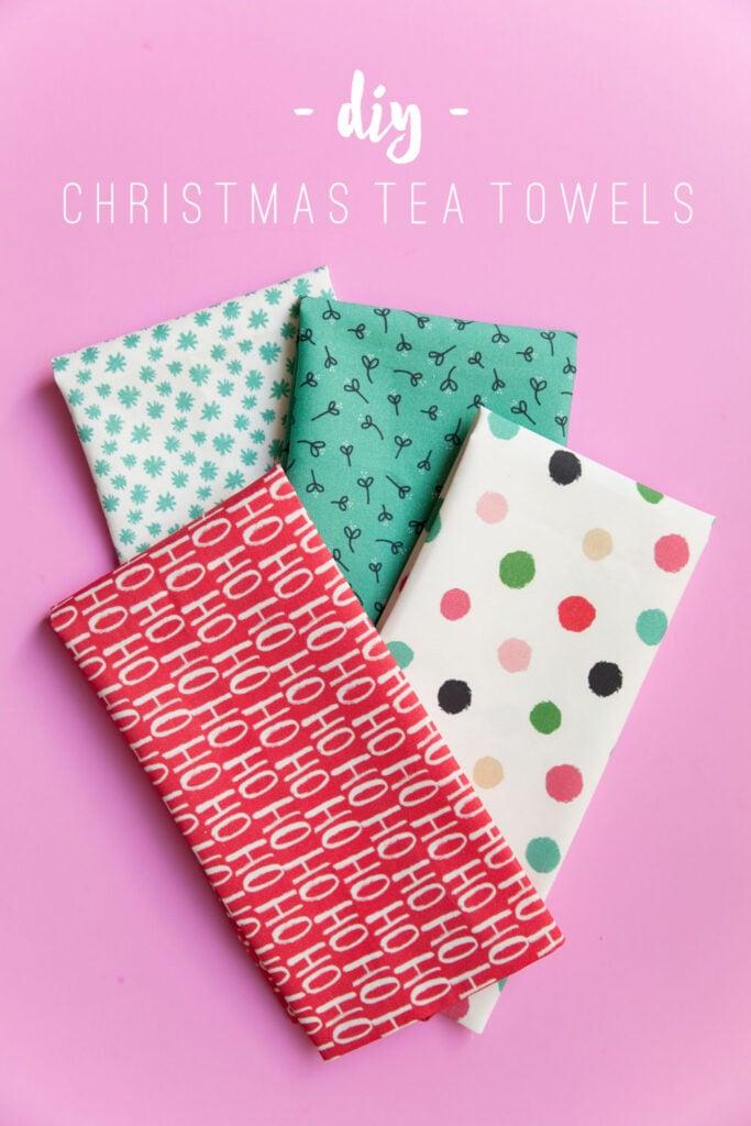 Easy Homemade Christmas Gifts; DIY Christmas tea towels