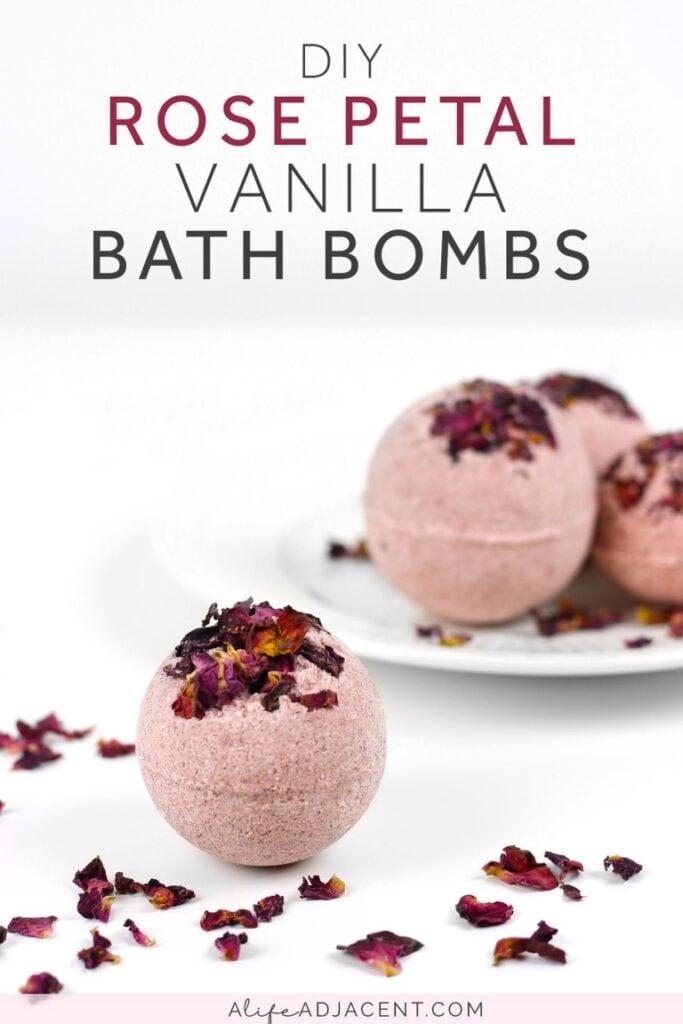 Easy Homemade Christmas Gifts; Vanilla Rose Bath Bombs