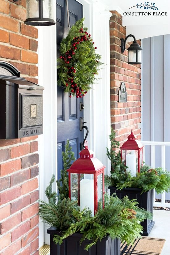Simple Winter Front Porch Decor Ideas; ways to decorate your front door and home entrance this season! red lanterns