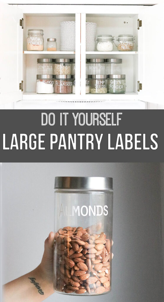 Pantry Organization with Large Labels; Cricut labels, white vinyl label, white decal, organized pantry, clear jar, small jar, silver lid