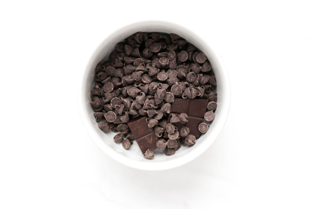Bowl of chocolate chips to be melted