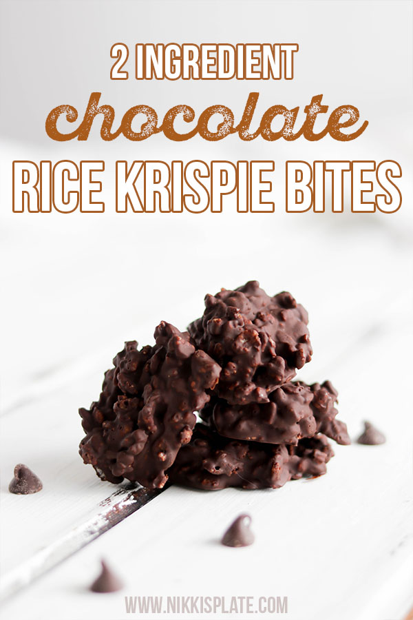 2 Ingredient Chocolate Rice Krispy Bites; A simple healthy dessert treat that is vegan, dairy free and guilt free! Made with only two ingredients, chocolate and brown rice krispie cereal!