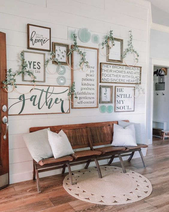FarmHouse Living Room on a Budget; gallery wall by Cotton Stem